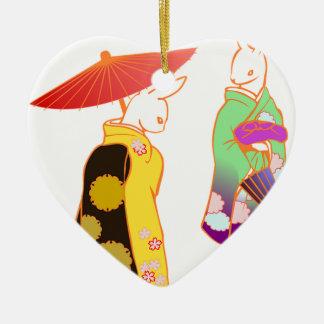 Ornamento De Cerâmica Coelhos de coelho japoneses