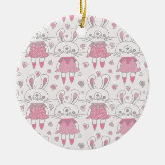 Ornamento De Cerâmica Coelhos felizes no rosa