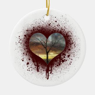 Ornamento De Cerâmica Cofre forte a árvore de coração de sangramento da