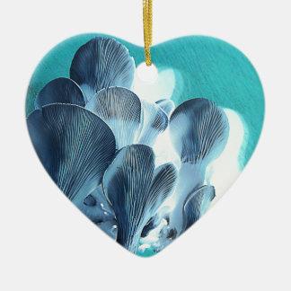 Ornamento De Cerâmica Cogumelos de ostra no azul