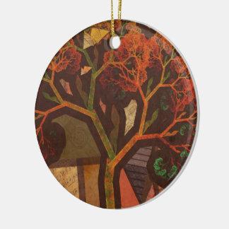 Ornamento De Cerâmica Colagem bonita do Fractal de um outono de Origami