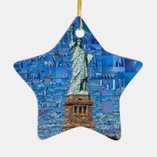 Ornamento De Cerâmica colagem da estátua da liberdade - arte da estátua