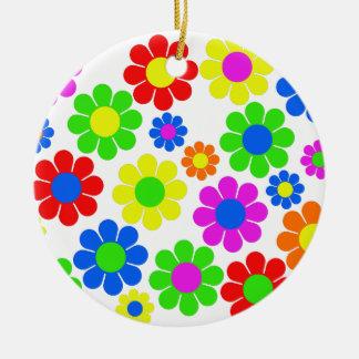 Ornamento De Cerâmica Colagem da flor do hippy