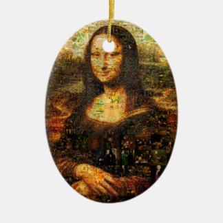 Ornamento De Cerâmica colagem de Mona lisa - mosaico de Mona lisa - Mona