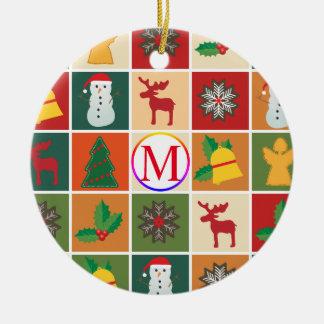 Ornamento De Cerâmica Colagem do Natal com monograma