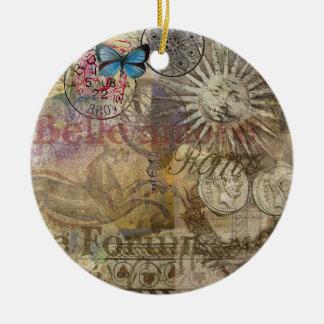 Ornamento De Cerâmica Colagem do viagem de Italia do vintage de Roma