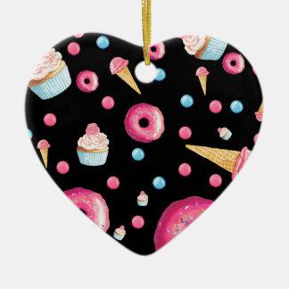 Ornamento De Cerâmica Colagem preta da rosquinha