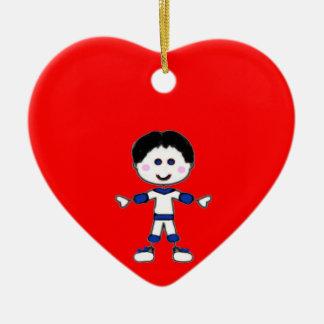 Ornamento De Cerâmica Coleção da família da vara de Little Boy
