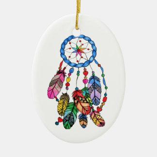 Ornamento De Cerâmica Coletor do sonho do arco-íris da aguarela &
