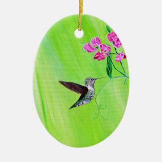 Ornamento De Cerâmica Colibri & ervilhas doces