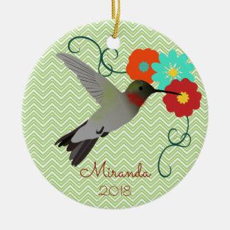 Ornamento De Cerâmica Colibri tropical personalizado
