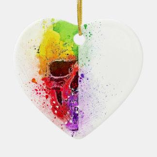 Ornamento De Cerâmica Colorful Skull - Caveira Colorida