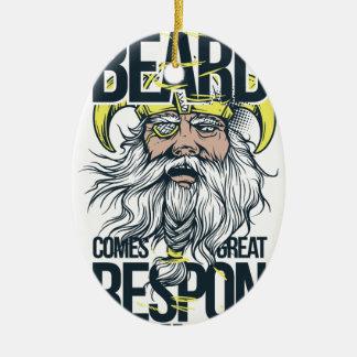 Ornamento De Cerâmica com grande barba vem a grande responsabilidade