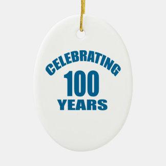 Ornamento De Cerâmica Comemorando 100 anos de design do aniversário