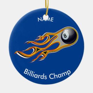 Ornamento De Cerâmica Cometa impetuoso da BOLA de BILHAR personalizado