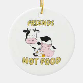 Ornamento De Cerâmica Comida dos amigos não - vaca bonito, porco e