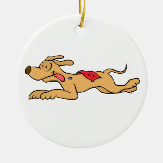 Ornamento De Cerâmica Competência de cão do galgo dos desenhos animados