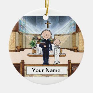Ornamento De Cerâmica Comunhão, menino - padre masculino