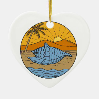 Ornamento De Cerâmica Conch Shell na árvore de coco segunda-feira de Sun