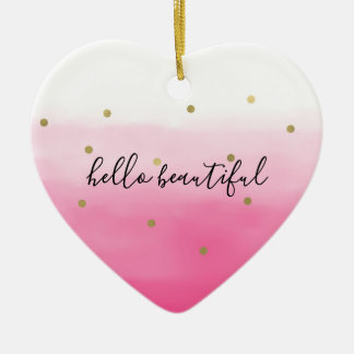 Ornamento De Cerâmica Confetes cor-de-rosa Ombre do ouro da aguarela