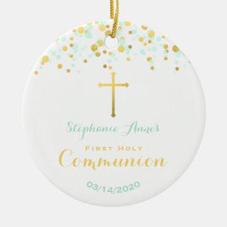 Ornamento De Cerâmica Confetes da hortelã e do ouro do comunhão