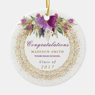 Ornamento De Cerâmica Confetes do ouro da flor do brilho da aguarela da