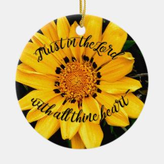 Ornamento De Cerâmica Confiança no senhor Brilhante Amarelo Flor