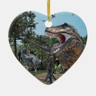 Ornamento De Cerâmica Confrontação de Rex de Suchomimus e de