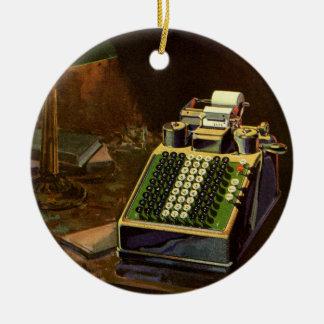 Ornamento De Cerâmica Contador do negócio do vintage, máquina de