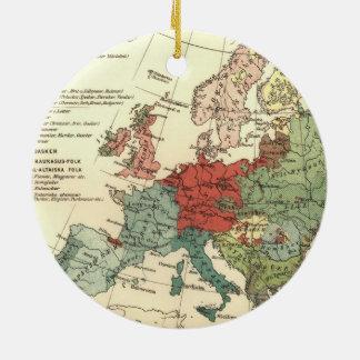 Ornamento De Cerâmica Continente europeu do mapa do vintage