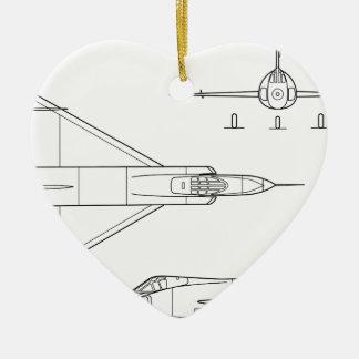 Ornamento De Cerâmica Convair_YF-102_Delta_Dagger_3-view