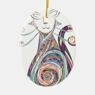 Ornamento De Cerâmica cópia do gato do redemoinho