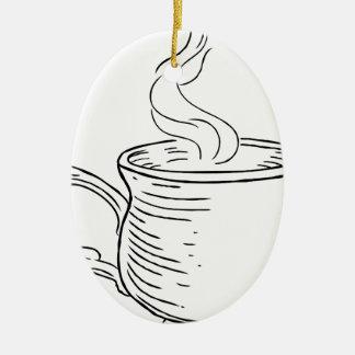 Ornamento De Cerâmica Copo do estilo gravado retro do vintage do chá ou