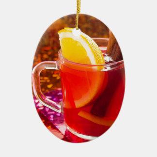 Ornamento De Cerâmica Copo transparente do chá com citrino, canela