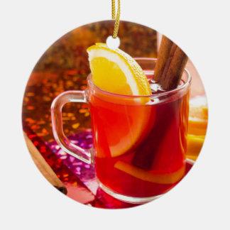 Ornamento De Cerâmica Copo transparente do chá com citrino e canela