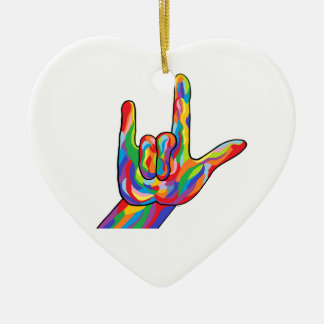 Ornamento De Cerâmica COR CORAJOSA do ASL eu te amo