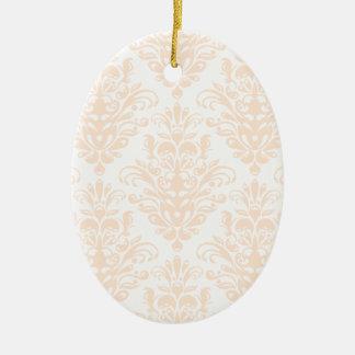 Ornamento De Cerâmica Cor damasco elegante cor-de-rosa e branca coral