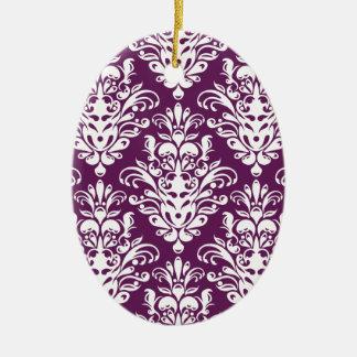 Ornamento De Cerâmica Cor damasco elegante roxa e branca quente
