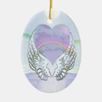 Ornamento De Cerâmica Coração, asas do anjo & oceano