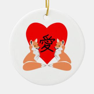 Ornamento De Cerâmica Coração bonito do amor do Fox