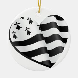 Ornamento De Cerâmica Coração bretão da bandeira