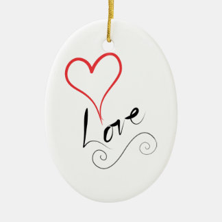 Ornamento De Cerâmica Coração com amor