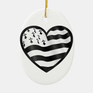 Ornamento De Cerâmica Coração com bandeira de Bretin para dentro