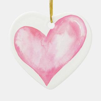 Ornamento De Cerâmica Coração cor-de-rosa da aguarela, presente dos