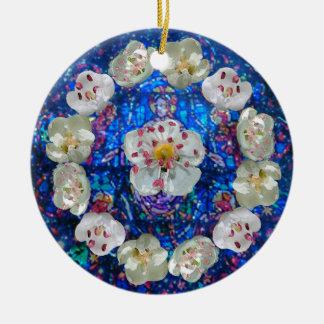 Ornamento De Cerâmica Coração cor-de-rosa da flor