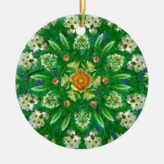 Ornamento De Cerâmica Coração cor-de-rosa da floresta