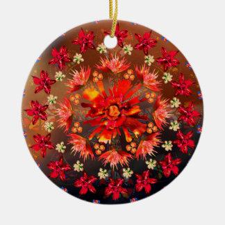 Ornamento De Cerâmica Coração cor-de-rosa do fogo