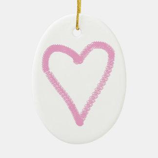 Ornamento De Cerâmica coração cor-de-rosa simples
