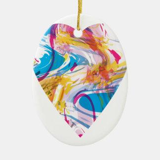 Ornamento De Cerâmica Coração da arte do pulso aleatório