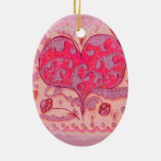 Ornamento De Cerâmica Coração da arte popular com folhas e flores